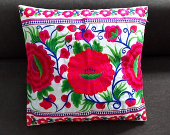 Hmong Pink Thai Embroidered Hobo Boho Cushion Pillow Cover