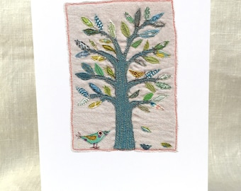 Summers End. Greeting Card. Free-machine Embroidery Print. Birthday cards. Blank cards.