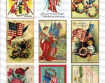 Vintage Memorial Day Postcards Digital Download Collage Sheet 3.5 x 2.25 inch