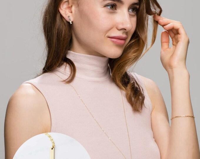 Vertical bar Roman Numeral Necklace // Personalized Long Name bar necklace //long necklace EP011