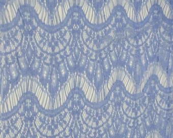 Blue Eyelash Cotton Blend Lace Fabric by the yard or Wholesale Eyelash Showgirl Lace Fabric - Sofia Pattern - 1 Yard Style 379