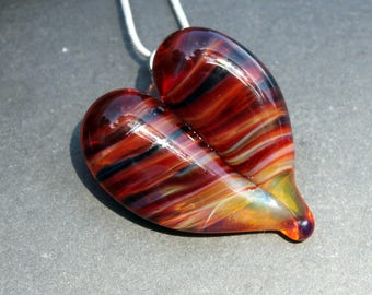 Red Lampwork Heart Pendant, Glass Boro Jewelry, Necklace Lampwork Hand Blown