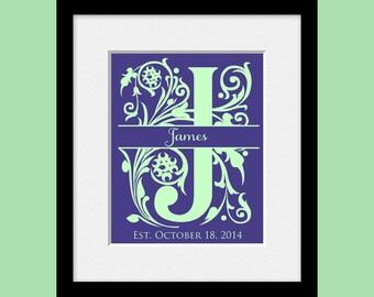 Monogram Wedding Print, Large Split Initial Wall Art, Personalized Bridal Shower Gift, Wedding Decoration, Name and Established Date Print