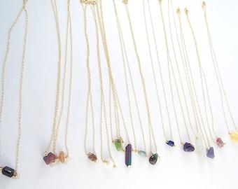 Raw Stone Captive Gemstone Necklace (Gold Filled)
