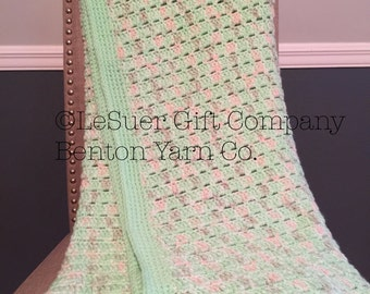Crocheted Baby Blanket  Double & Single Crocheted Cluster