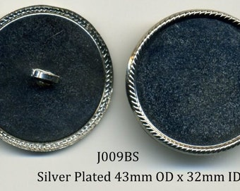 Button Shank 10 - 43mm Silver Plated Metal - item J009BS