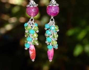 Vibrant Fuchsia, Blue Chalcedony and Lime Green Sterling Silver Earrings