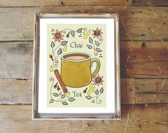 Chai Tea Print - A5 Or A4 Spiced Tea Coffee Shop Green Illustration Print - Autumn Winter Spring Fresh Tea Whimsical Cafe Kitchen Wall Art