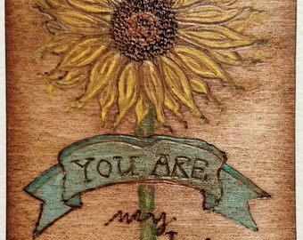 Sunflower Pyrography Magnet