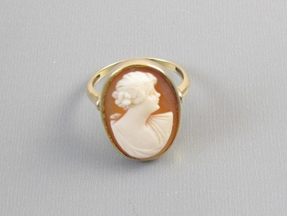 Antique Edwardian 10k gold cameo ring size 6-1/4