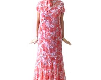 Retro Floral Flapper Dress, Roaring 20s Dress, Great Gatsby Dress, Downton Abbey Dress, Flapper Costume, Custom Size, Chiffon, Long, 1920s