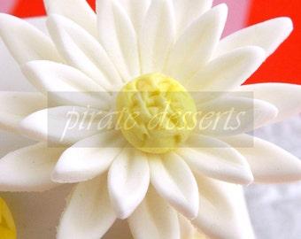 EDIBLE DAISY Cake Topper - Sugar Flower - Fondant flower Cupcake Toppers - Edible cake decorations  (2 inch size) (White Daisy) (2 pieces)