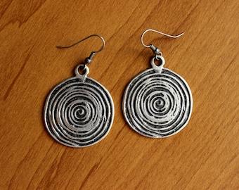 Ethnic Earrings, Mandala Earrings, Spiral Earrings, Round Silver Earrings, Bohemian Earrings, Antique Silver Earrings, Boho Gypsy Earrings