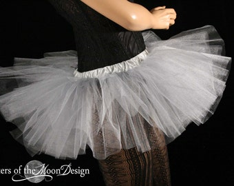 Mini micro tutu skirt Silver glimmer dance costume roller derby gogo dancer race run teen child girls -You Choose Size - Sisters Of the Moon