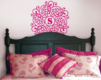 Mandala Vinyl Decal Monogram Circle Decal - Doily Wall Decor - Vinyl Decal Custom Monogram - Custom Bedroom Wall Decal (0179c11v)