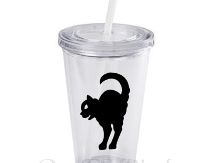 DIY Black Cats - Halloween Decals - Set of 12 - 2.75 inch vinyl stickers for DIY  Party, glasses, mugs, and more. Glass is NOT Included.