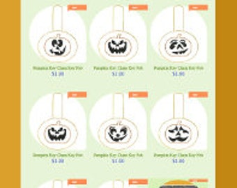 Pumpkin Key Chain Set Key Fob Machine Embroidery Designs Only Jack o Lantern