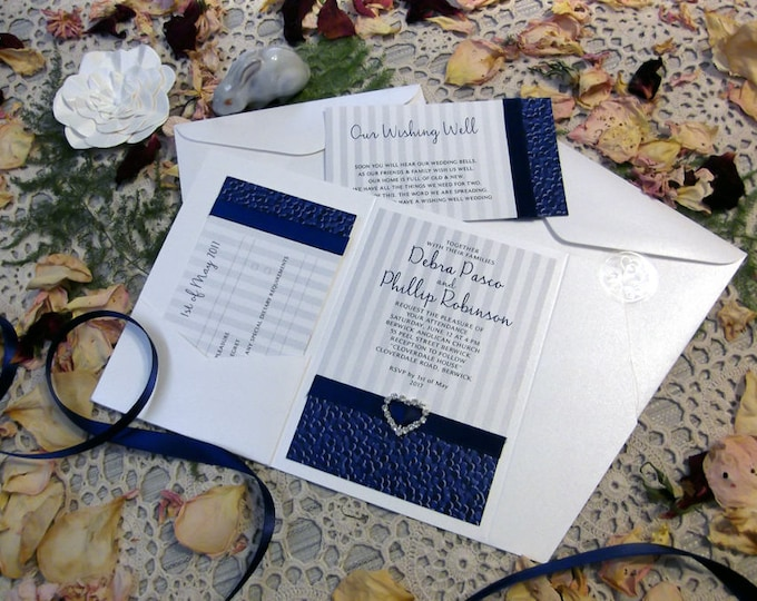 25 x Printed Wedding Invitation sets Seals, Pocket Folds, Diamante Buckles, Satin Ribbon, RSVP, Wishing Well, Envelopes  EVERYTHING Included