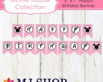 INSTANT DOWNLOAD Printable Pink Minnie Mouse Happy Birthday Banner