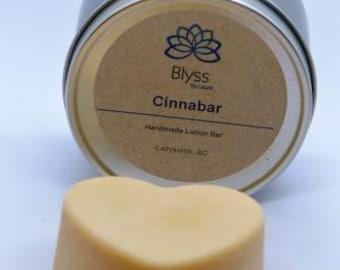 Cinnabar Massage bar, solid lotion bar scented with cinnamon mint and myrrh