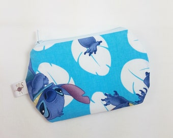 Mini Zipper Pouch Disney Many Faces of Stitch Blue Flat Zipper Storage Coin Pouch / Scissor Case / Card Holder / Notions Pouch S493