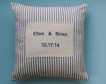 wedding pillow, anniversary pillow,   navy blue,  personalized pillow, date pillow, name pillow