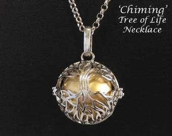 Chiming Tree of Life Necklace, Celtic Tree of Life Cage with a Gold Harmony Chime Ball - Chimes with Movement | Harmony Necklace, 125