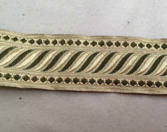 Ribbon medieval 3.5 cm khaki green and gold
