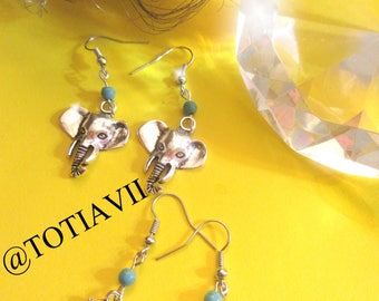 Two pair of Funny Owl and Elephant Earring Silver Color and Turquoise Stone