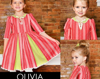 Olivia Portrait Dress PDF Downloadable Pattern by MODKID... sizes 2T to 10 Girls included - Instant Download