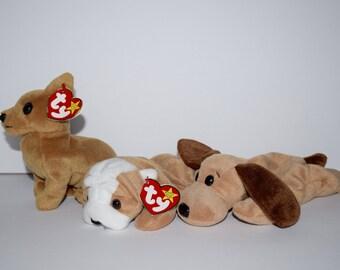Three TY Beanie Babies Dog Beanie Baby Stuffed Animal Tiny Wrinkles and Bones
