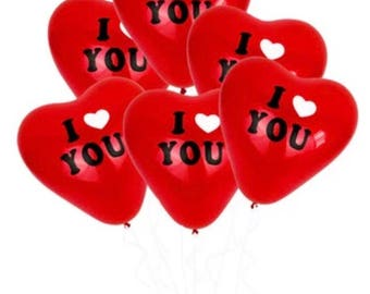 "5 x red Valentine's Day ""i love you"" heart shaped balloons"