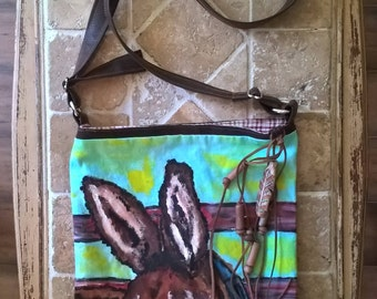 Handmade purse with Hand-painted Donkey and clay beads