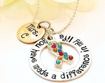 Personalized Teacher Gift,Gift For Retirement,Retirement Gift,Teacher Necklace,Teacher Appreciation Gift, Autism Necklace-Autism awareness-