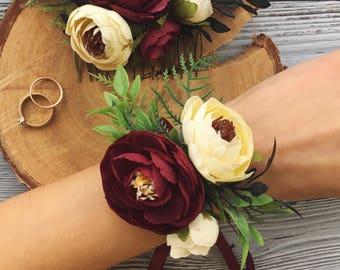 Wrist corsage wedding flower prom corsage bridesmaid corsage mothers corsage Burgundy prom corsage Rustic corsage burgundy bridesmaid gift