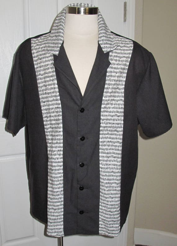 Music Note print Men's bowling shirt in 10 sizes
