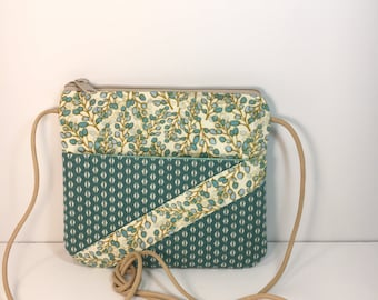 Small Cross Body~Turquoise and Cream~MINI CROSSBODY~Small Crossbody~Bags & Purses~Small Shoulder Bag~Go AnyWhere Bag~Small Hipster