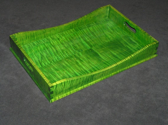 "15"" x 21"" Bright Green Tiger Maple Serving Tray"