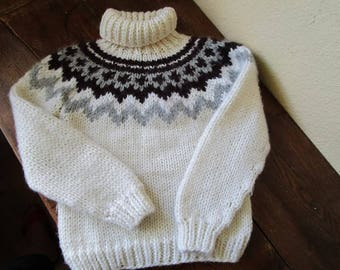 Hand Knitted Wool Sweater Fair Isle Sweater Lopapeysa Icelandic Sweater Kids Sweater Knit Pullover Kids Wool Jumper Size 3-4 Years