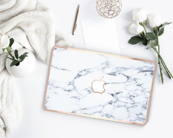 Macbook Pro 13 Case . Bianco Sivec White Marble . Macbook Air Case . Laptop Case . Macbook Case . Rose Gold Chrome Edge- Platinum Edition