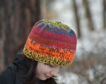 Double thick, chunky, rainbow hat