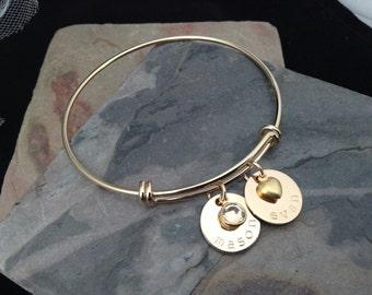 Gold Plated or Gold Filled  Adjustable Bangle - Custom Hand Stamped Bracelet, Mother's Bracelet
