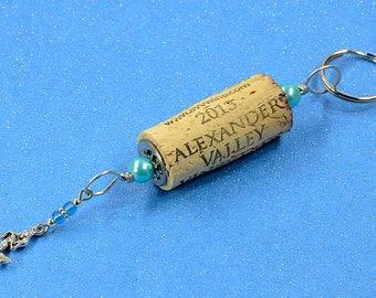 Turquoise Mermaid Wine Cork Keychain Key Ring Fob #K124