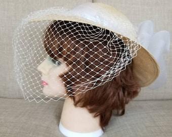 Vintage Women's White Broad Brimmed Veiled Straw Hat