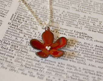 Red  Flower Enamel Necklace Bridesmaid Gift