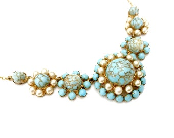 Bib Necklace, Turquoise Glass Cabochons and Faux Pearl Accents, Floriated Design, Gold Tone, Vintage, Wedding Jewelry,