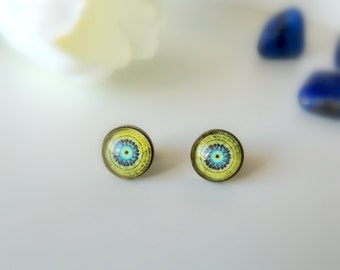 EARTH MANDALA Stud Earrings Green Mandala Earrings Post Earrings Circle Stud Earrings Mandala Jewelry Wife Gift