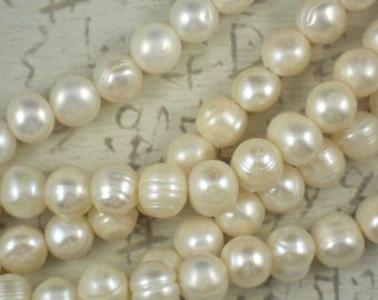 5 Pearls Large 2mm Hole Creamy White Potato - Perfect for Leather or Ribbon (4148 -5)