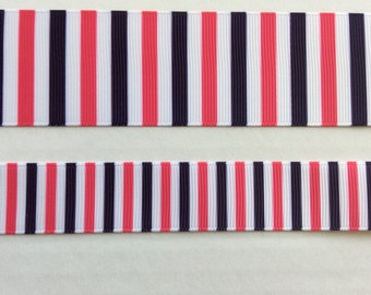"Super Preppy Plaid pink navy white Striped grosgrain ribbon 7/8"" 1.5"""