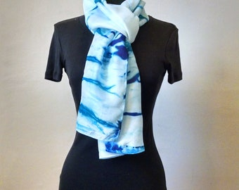 Sky Blue Silk Scarf, Hand paint Silk Scarf, Blue Stripes, 14x69 inches, Turquoise Scarf, Modern Silk Scarf, Abstract Scarf, Gift for Woman